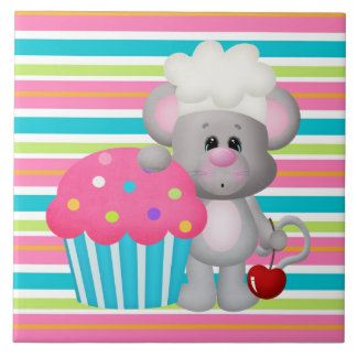 Cupcake Mouse Bakery Cartoon Tile