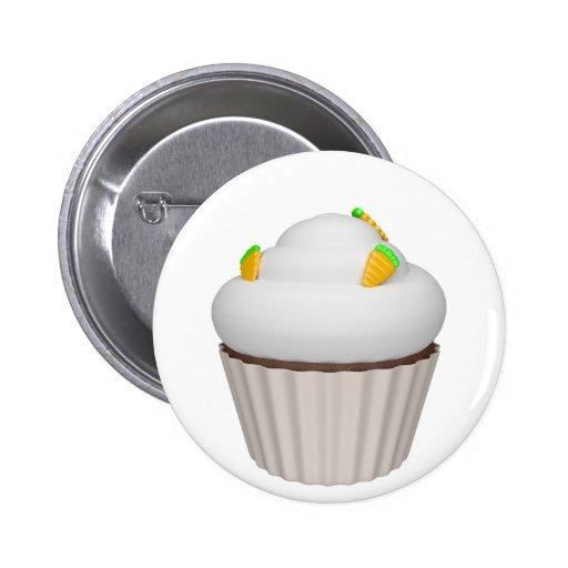 Cupcake of carrot pinback buttons