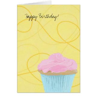 cupcake on yellow, Happy Birthday! Card
