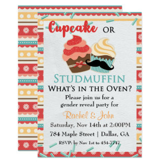 Cupcake or Stud Muffin Baby Shower Invitation