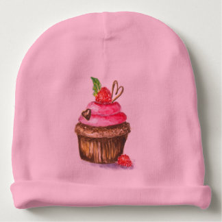 Cupcake painting on baby hat. baby beanie