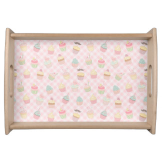 Cupcake Pattern Gingham Serving Tray