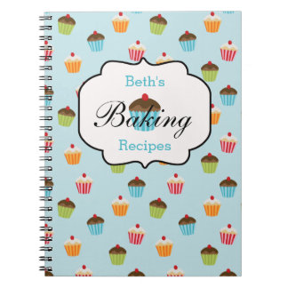 Cupcake Personalized Baking Recipe Notebook