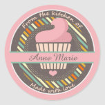 Cupcake Personalized Made With Love Round Sticker