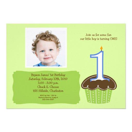 Cupcake PHOTO Birthday Invitation Babies 1st