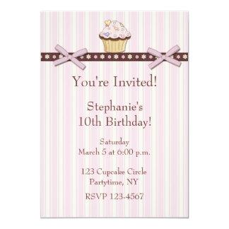 Cupcake Pink Stripes Birthday Invitation