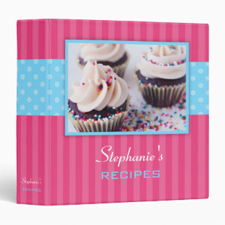 Cupcake Polka Dot Stripe Recipe 3 Ring Binder