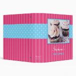Cupcake Polka Dot Stripe Recipe 3 Ring Binder