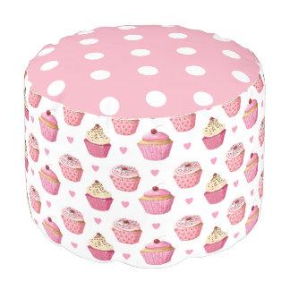 Cupcake Print, Polka Dot Girly Pouf, Pink Pouf