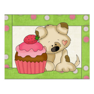 Cupcake Puppy cartoon fun postcard