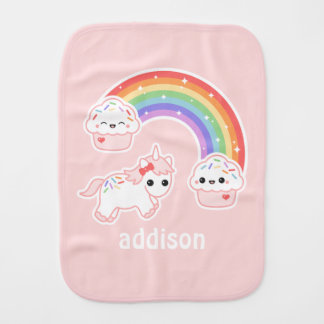 Cupcake Rainbow Unicorn Burp Cloth