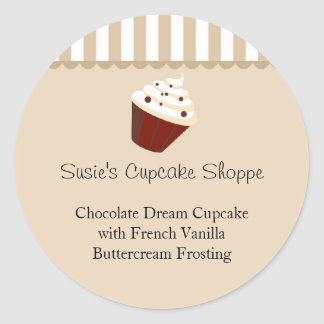Cupcake Round Product Label, Soft Mocha Stripes Classic Round Sticker