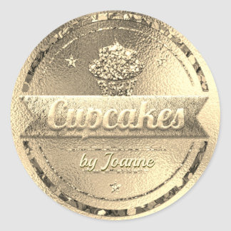 Cupcake Sales Shiny Gold Glitter Look Classic Round Sticker