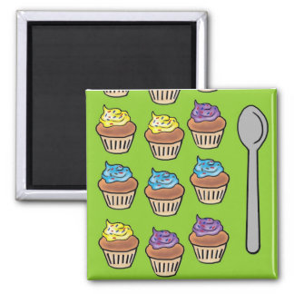 Cupcake Slots Square Magnet
