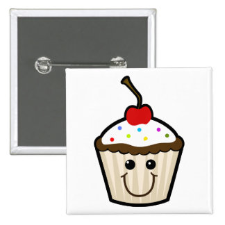 Cupcake Smile Face Pinback Buttons