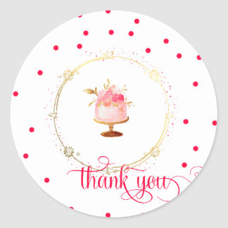 ★ Cupcake thank you Classic Round Sticker
