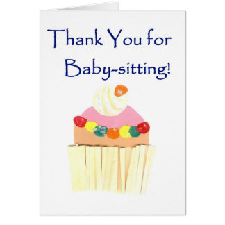 Cupcake 'Thank You for Babysitting' card