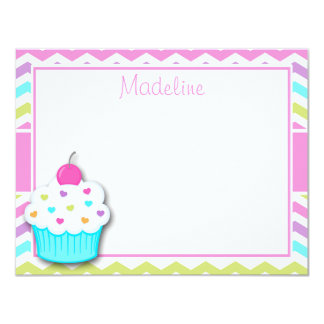 Cupcake Thank You Note, Cupcake Stationery Card
