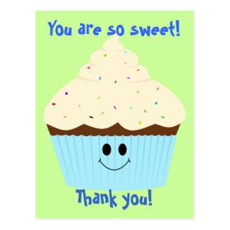 Cupcake Thank You Postcard (blue)
