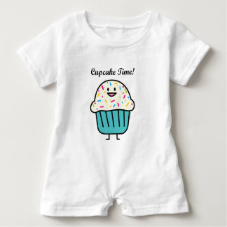 Cupcake Time with sprinkles sweet dessert fondant Baby Romper