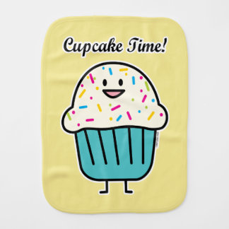 Cupcake Time with sprinkles sweet dessert fondant Burp Cloth