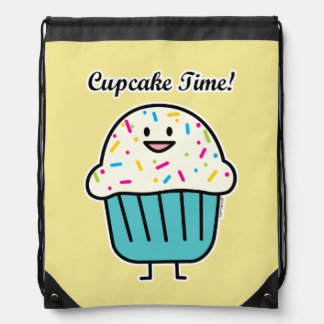 Cupcake Time with sprinkles sweet dessert fondant Drawstring Bag