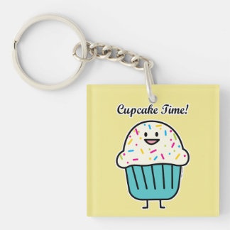 Cupcake Time with sprinkles sweet dessert fondant Keychain