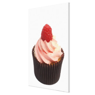 Cupcake topped with raspberry cream and a fresh canvas print