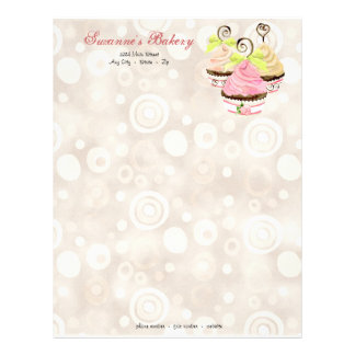 Cupcake Trio w/ Heart Business Cream Stationery Letterhead Design