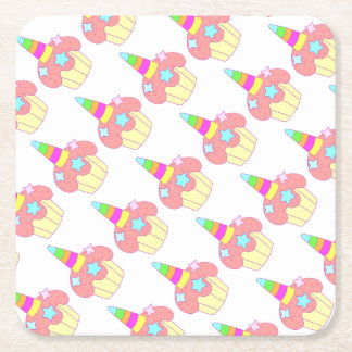 cupcake unicorn square paper coaster