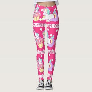 Cupcake Unicorn & stars pink polka dot Leggings