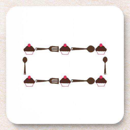 Cupcake Utensil Frame Drink Coasters