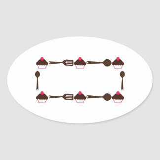 Cupcake Utensil Frame Oval Sticker