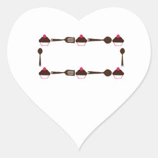 Cupcake Utensil Frame Heart Sticker
