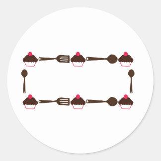 Cupcake Utensil Frame Round Sticker