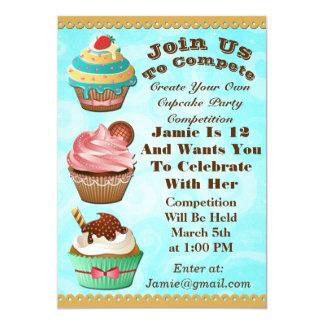 Cupcake Wars Bake Off Birthday Blue Swirls Invite