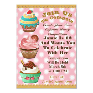 Cupcake Wars Bake Off Birthday Pink Polka Invite