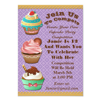 Cupcake Wars Bake Off Birthday Purple Invite