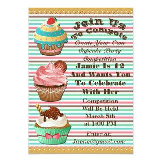 Cupcake Wars Bake Off Birthday Striped Invite