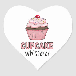 Cupcake Whisperer Heart Sticker