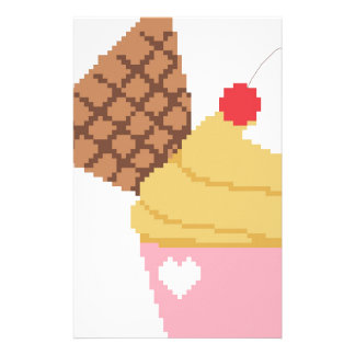 cupcake with a cherry on top stationery