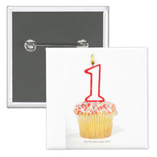 Cupcake with a numbered birthday candle 10 2 inch square button