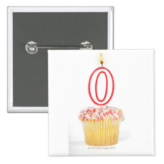 Cupcake with a numbered birthday candle 2 inch square button