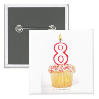 Cupcake with a numbered birthday candle 5 2 inch square button