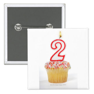 Cupcake with a numbered birthday candle 6 2 inch square button