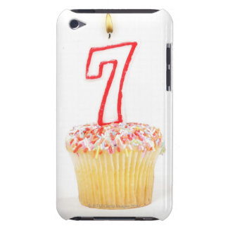 Cupcake with a numbered birthday candle 7 iPod touch cover