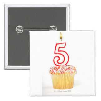 Cupcake with a numbered birthday candle 8 2 inch square button