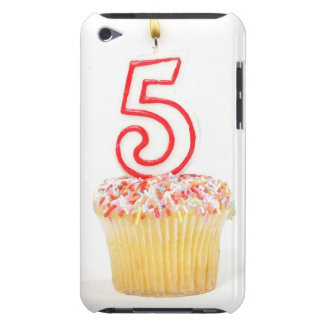 Cupcake with a numbered birthday candle 8 barely there iPod covers