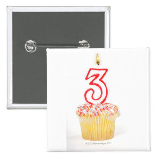 Cupcake with a numbered birthday candle 9 2 inch square button