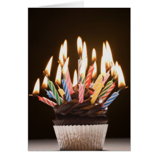 Cupcake with birthday candles card
